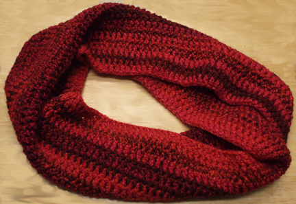 The Zen Lady Red Marbledl Mobius Scarf